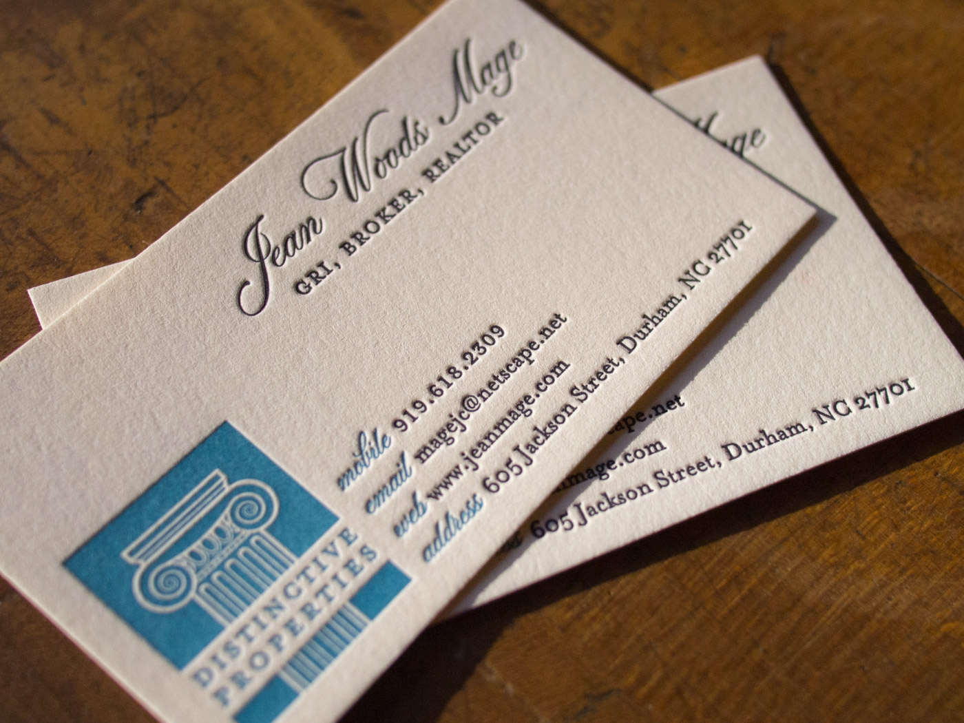 Letterpress Business Cards Jean Woods