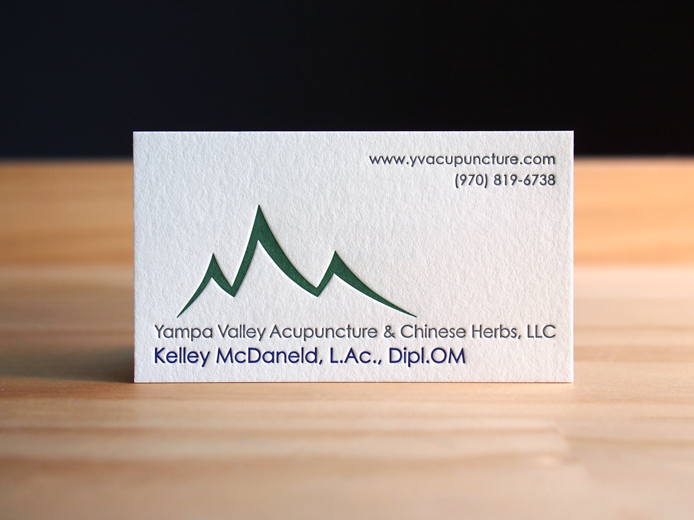 Letterpress Business Cards | YV Acupuncture | Parklife Press