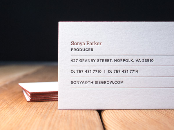 Letterpress business card gallery parklife press grow reheart Image collections