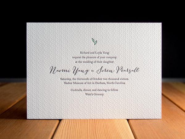 Letterpress Wedding Invitation Gallery   Parklife Press